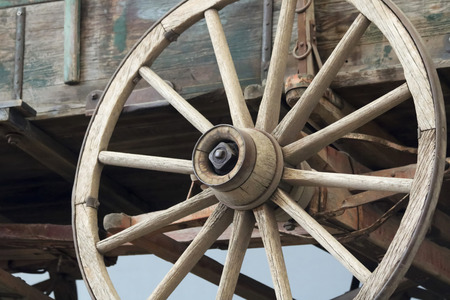A Wheel and Undercarriage of a Buckboard Wagon Used in the American Frontier Stock Photo