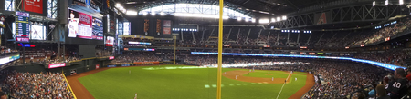 PHOENIX, ARIZONA, MAY 13: Chase Field on May 13, 2017, in Phoenix, Arizona. An Arizona Diamondbacks -  Pittsburgh Pirates major league baseball game at Chase Field in Phoenix, Arizona. Editorial