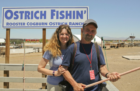 stingrays: PICACHO, ARIZONA, MAY 21. Rooster Cogburn Ostrich Ranch on May 21, 2017, near Picacho, Arizona. A Couple at  Rooster Cogburn Ostrich Ranch near Picacho, Arizona. Editorial