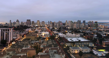 An Aerial View of Downtown Taken Atop Mr. As Restaurant Building in Bankers Hill in San Diego, California.