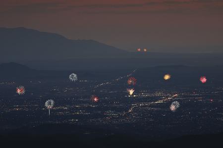 A Santa Fe and Albuquerque Fireworks Celebration Aerial Shot, New Mexico Banco de Imagens - 82106725