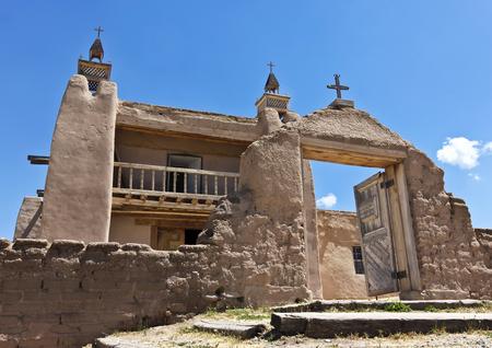 A Historic Church, San José de Gracia, on the main plaza of Las Trampas, New Mexico, Built in 1760 Stock Photo