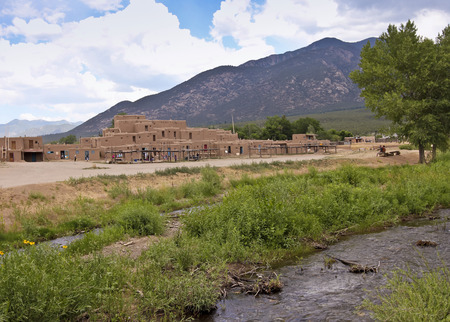 TAOS, NEW MEXICO, JULY 5. The Taos Pueblo on July 5, 2017, near Taos, New Mexico. A View of North House at the Taos Pueblo near Taos in New Mexico.