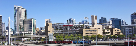 SAN DIEGO, CALIFORNIA, JUNE 9. Petco Park on June 9, 2017, in San Diego, California. A MTS Trolley Races Past Petco Park in San Diego, California.