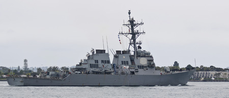 SAN DIEGO, CALIFORNIA, JUNE 7. Naval Base San Diego on June 7, 2017, in San Diego, California. A United States Navy Destroyer, USS Higgins, Naval Base San Diego in San Diego in California.