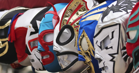 A Colorful Assortment of Lucha Libre Luchador Masks Stock Photo
