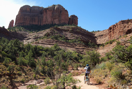 coconino national forest: A Mountain Biker Rides the Templeton Trail Toward Famous Cathedral Rock Near Sedona in Arizona