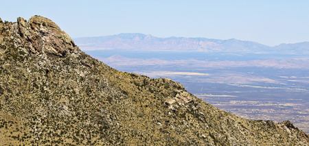 A View of the Huachuca, Mule and Dragoon Mountains from the Crest Trail in the Huachuca Mountains, Arizona Stock Photo