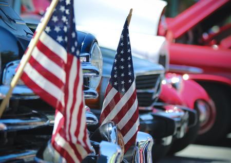 American Flags And Chrome At A Vintage Car Show A Fourth Of Stock - Car show flags