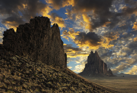A Gorgeous Sunset of Blue and Gold Over a Shiprock, New Mexico, Horizon