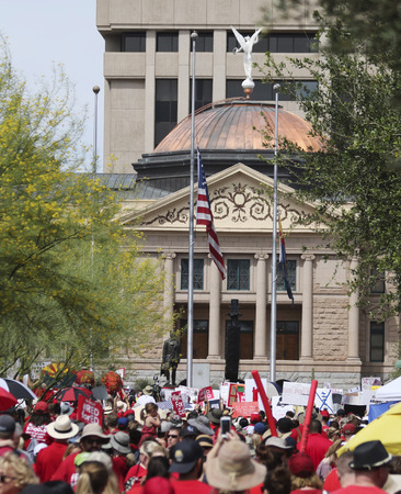 PHOENIX, ARIZONA, MAY 30. The State Capitol Building on May 30, 2018, in Phoenix, Arizona. A Scene from the 2018 Red for Ed Teacher Strike at the state Capitol in Arizona.