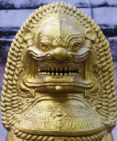 A mythological Golden Lion statue, Chiang Mai, Thailand. Stock Photo