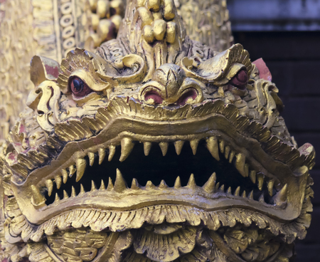 This Wat Chedi Liam Golden Dragon Resides in the ancient city of Wiang Kum Kam just south of Chiang Mai, Thailand.