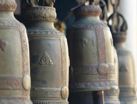 CHIANG MAI, THAILAND, DECEMBER 25. Wat Phra That Doi Kham Temple on December 25, 2018, near Chiang Mai, Thailand. A Line of Temple Bells at Wat Phra That Doi Kham Temple in the mountains above Chiang Mai, Thailand.