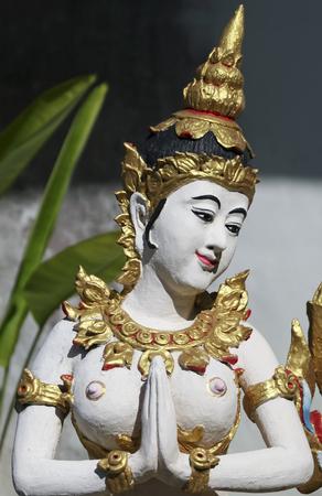A Temple Gaurdian Goddess Sculpture, Chiang Mai, Thailand Banco de Imagens