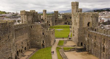 A Caernarfon Castle Panorama, Wales, Great Britain, United Kingdom