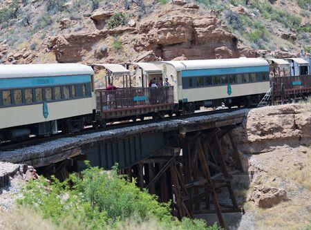 CLARKDALE, ARIZONA, MAY 30. The Verde Canyon Railroad Train on May 30, 2019, near Clarkdale, Arizona. The Verde Canyon Railroad Train takes tourists along the scenic canyon and across the SOB Bridge near Clarkdale, Arizona, USA.