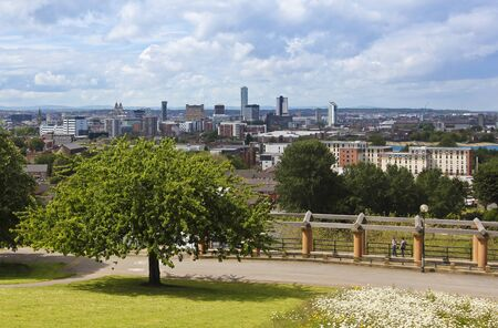 Liverpool, England, landmarks including the Royal Liver Building, Merseyside, Beetham Towers, Alexandra Tower, Unity Residential, New Hall Place, The Plaza, and the Municipal Building are seen from Everton Park, Great Britain, United Kingdom. Stok Fotoğraf