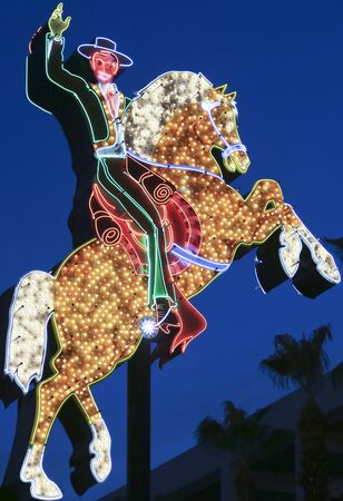 LAS VEGAS, NEVADA, JULY 3. Fremont East District Entrance on July 3, 2019, in Las Vegas, Nevada. A Hacienda Horse and Rider Sign, Fremont East District Entrance, Las Vegas, Nevada, USA. Editorial
