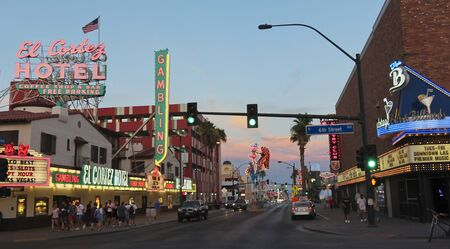 LAS VEGAS, NEVADA, JULY 3. Fremont East District on July 3, 2019, in Las Vegas, Nevada. A Fremont East District Sunset Shot, Las Vegas, Nevada, USA.