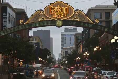 SAN DIEGO, CALIFORNIA, JULY 13. The Gaslamp Quarter on July 13, 2019, in San Diego, California. An Entrance to the Gaslamp Quarter, Historic Heart of San Diego, California, United States of America. Editorial