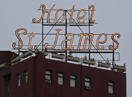 SAN DIEGO, CALIFORNIA, JULY 14. The Gaslamp Quarter on July 14, 2019, in San Diego, California. An Historic Hotel, the St. James, in the Gaslamp Quarter, San Diego, California, United States of America. Editorial
