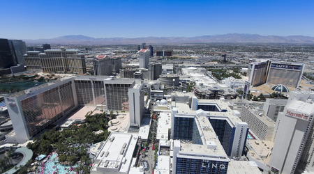 A Vegas Aerial from Atop the High Roller Observation Ferris Wheel, Las Vegas, Nevada, United States of America.