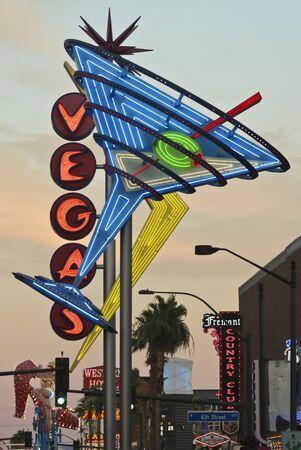 LAS VEGAS, NEVADA, JULY 3. Fremont East District on July 3, 2019, in Las Vegas, Nevada. A Restored Vintage Vegas and Martini Sign, Fremont East District, Las Vegas, Nevada, USA.