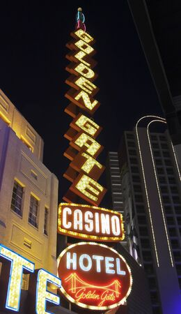 LAS VEGAS, NEVADA, JULY 3. Fremont Street Experience on July 3, 2019, in Las Vegas, Nevada. A Golden Gate Hotel and Casino Sign, Fremont Street Experience, Las Vegas, Nevada, USA. Editorial