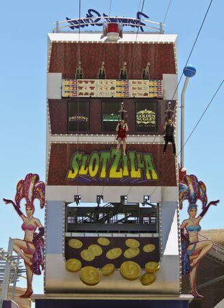 LAS VEGAS, NEVADA, JULY 3. Fremont Street Experience on July 3, 2019, in Las Vegas, Nevada. A Fremont Street Experience Zip Line Scene, Las Vegas, Nevada, USA. Editorial