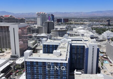 LAS VEGAS, NEVADA, JULY 3. The High Roller on July 3, 2019, in Las Vegas, Nevada. A Vegas Aerial from Atop the High Roller Observation Ferris Wheel, Las Vegas, Nevada, United States of America.