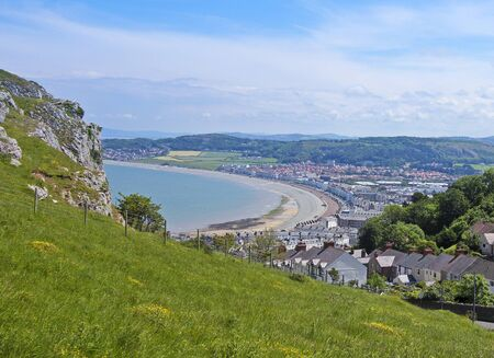 A View from the Great Orme Headland High Above the Seaside Resort Town of Llandudno, Wales, Great Britain, United Kingdom.