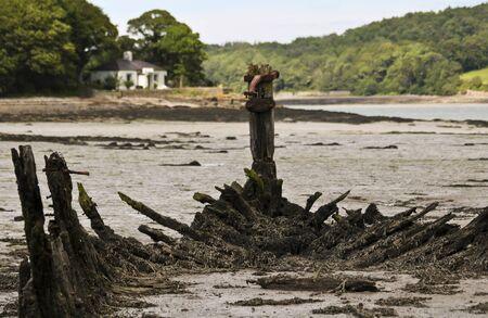 An Old Welsh Shipwreck, Llanedwen, Anglesey, Wales, Great Britain, United Kingdom Standard-Bild