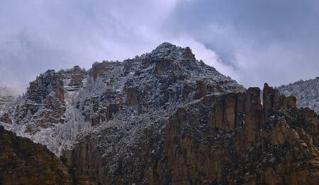 Rock and Ice, Snow on the Mogollon Rimrock, Sedona, Arizona, USA