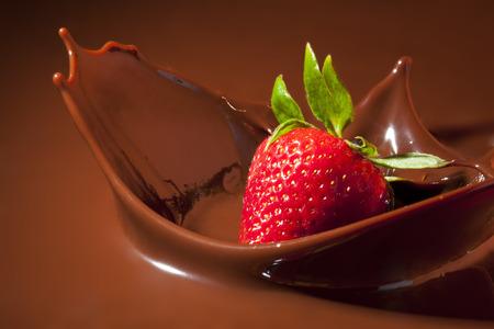 Strawberry Splashing in Milk Chocolate