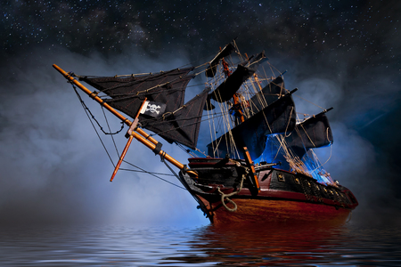 Model Pirate Ship with fog and water Stock Photo