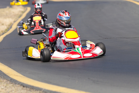 Adult Go Kart Racers on Track