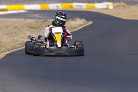 Adult Go Kart Racer on Track 版權商用圖片