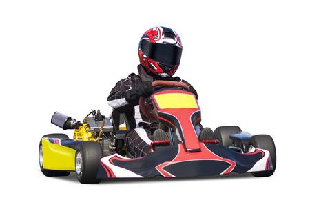 Geïsoleerde Adult Go Kart Racer Stockfoto