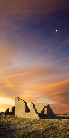 reno: Fort Churchill, Nevada. Abandoned military fort under sunset skies with moon. Editorial