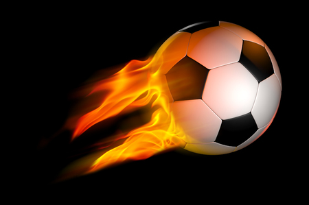 flaming: flaming soccer ball over black Stock Photo