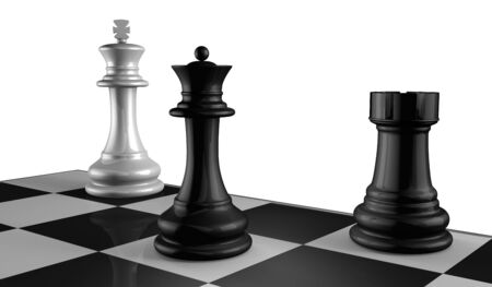 Chess Board with King, Queen and Rook in Checkmate. Imagens