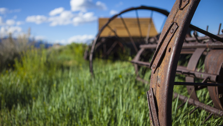 ranch background: Farming ranch background with barn and rusty farm plow. Green grass, blue sky and wooden barn. Shallow depth of field with focus on rusty plow wheel.
