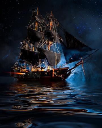 Modèle de bateau de pirate avec du brouillard et de l'eau Banque d'images - 68245576