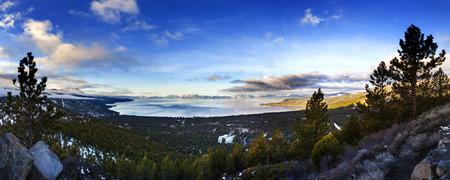 Lake Tahoe Panoramic shot over Incline Village, Nevada