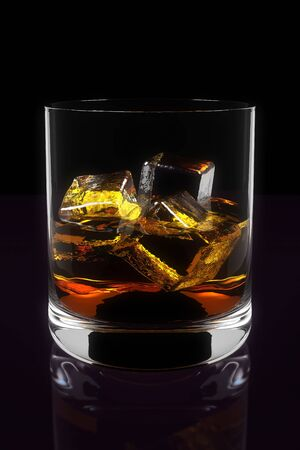 Three Dimensional Illustration of Whiskey in Glass Banco de Imagens