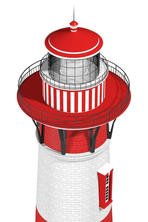 3d illustration of a lighthouse isolated on white background