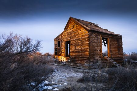 Old abandoned house near Fallon, Nevada at Sunset. Stock Photo