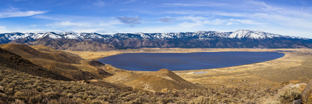 Washoe Lake, Nevada. Panorama showing mountain ranges and lake. Stock Photo