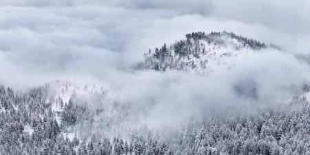 reno: Winter landscape with cloud inversion. Reno, Nevada Stock Photo